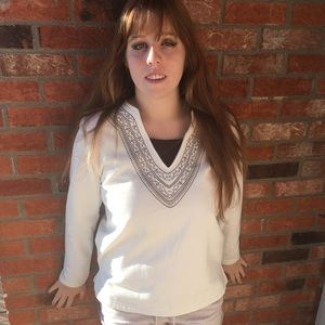 Basic Editions Tops - Long Sleeved Warm White and Brown Sweater